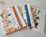 Book covers, linen, field flowers, H 18,5 x 14,5cm