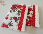 Book covers, linen, red roses, H 18,5 x 14,5cm