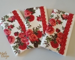 Book covers, linen, red roses, H 21 x 13cm