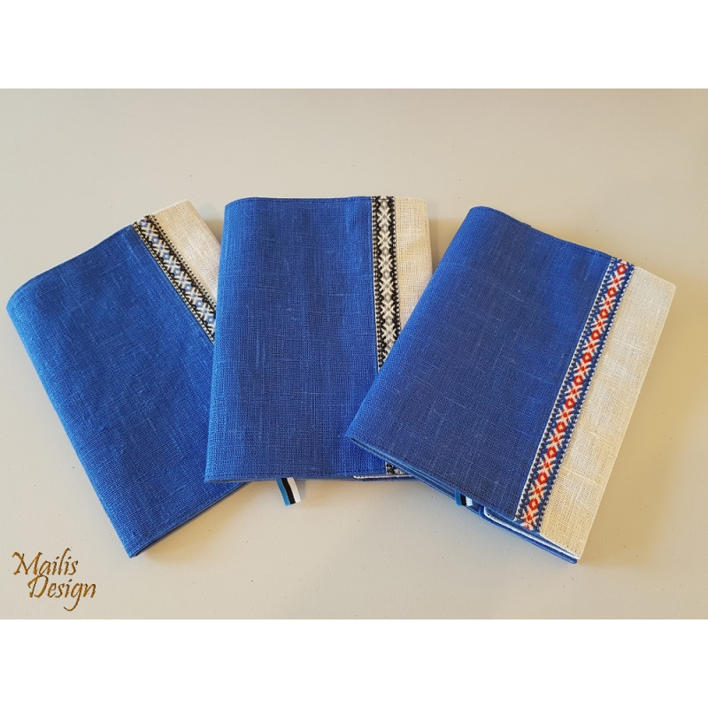 Book covers, linen, blue and white H 18,5 x 14,5cm