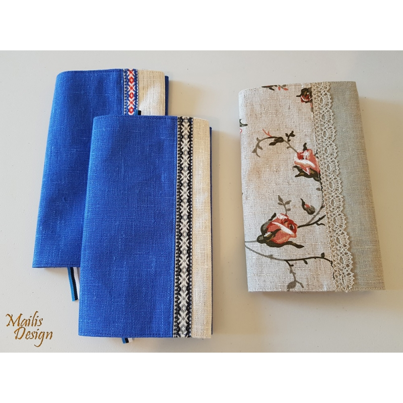 Book covers, linen, blue and white, H 21 x 13cm