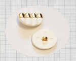 24mm Kuldne triip-valge kannaga polüesternööp