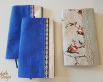 Book covers, linen, blue and white, H 21 x 13 cm