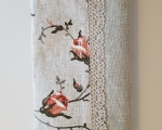 Book covers, linen, roses, H 21 x 13cm