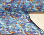 Linen fabric (100% linen), digital printing, blue