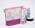 Grösse Kosmetiktasche mit Fenster und Perlen (h 20 cm)
