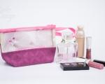 Kleine Kosmetiktasche mit Fenster und Perlen (h 12 cm)