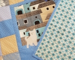 Baby patchwork quilt Cat on the roof (73 x 73 cm), 100% cotton