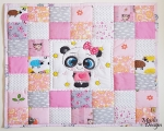 Patchwork babydecke mit Panda (73 x 73 cm), rosa