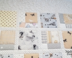 Twin size quilt with cats, dogs and horses (125 x 165 cm), beige-gray-white