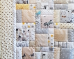 Twin size quilt with cats, dogs and horses (130 x 180 cm), beige-gray-cream