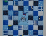 Toddler Quilt Owl (140 x 105 cm), blue