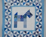 Toddler Pachwork quilt with PUPPY (107 x 107 cm), blue