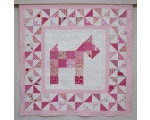 Toddler Pachwork quilt with PUPPY (140 x 105 cm), pink