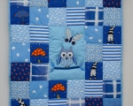 Baby Patchwork Quilt with Owl (90 x 80 cm), blue