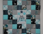 Toddler Quilt with Owl (140 x 105 cm), blue and gray.