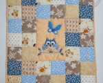 Baby Patchwork Quilt with Owl (90 x 80 cm), blue & mustard