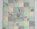 Baby Patchwork Quilt with Owl (90 x 80 cm), green & gray