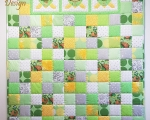 Full Size Patchwork Quilt, with Turtles (145 x 220 cm), green