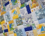 Full Size Patchwork Quilt (150 x 220 cm), blue-yellow