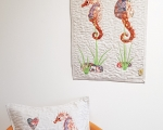 Tapestry and decorative pillow SEAHORSES, linen
