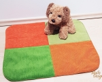Dog bed, sleeping mat, S - 50x55cm, green and orange