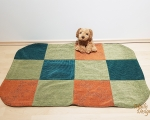 Dog bed, sleeping mat, XL - 70x110cm, green and orange