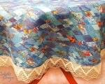 Linane laudlina pitsiga, ümmargune 160 cm, sinine