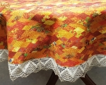 Linen tablecloth with lace, round 160 cm, orange