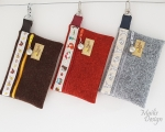 Mobile phone bag small, animals and birds, woollen felt (13 x 9 cm)