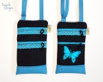 Phone case, 2 pockets, shoulder strap (22 x 13 cm) black/turquoise