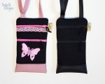 Phone case, 2 pockets, shoulder strap (22 x 13 cm) black/pink
