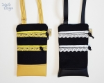 Phone case, 2 pockets, shoulder strap (22 x 13 cm) black/yellow/white
