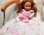 Doll blanket, patchwork quilt 42 x 42 cm