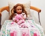 Doll blanket, patchwork quilt 45 x 45 cm