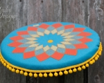 Mandala cushion, round floor pillow 50 cm
