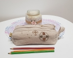 Linen cosmetic bag, hand embroidered