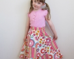 Girls Pacthwork Twirl Skirt (104 - 110 cm/Size 5-7), Floral & Spotted