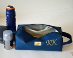 Toiletry bag with monogram, personalized, faux leather 24 x 12cm